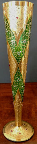 MOSER  Early 20th C. Perfect Vase Green Tall, Gold w/Red Cabochons, beautiful!