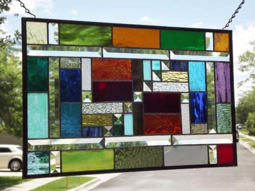 "• COLOR YOUR WORLD•Beveled Stained Glass Window Panel •21 ½""-13 ½"" (55-35cm)"