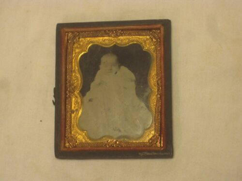 small antique picture photo frame half tin type gutta percha frame baby infant