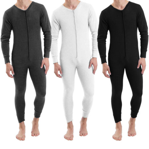 Men's Thermal All In One Onesee Bodysuit Jumpsuit Zip Baselayer Winter Ski S-2XL