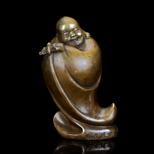 Chinese Antique Brass Hand Carved Buddha Statue W Xuande Mark