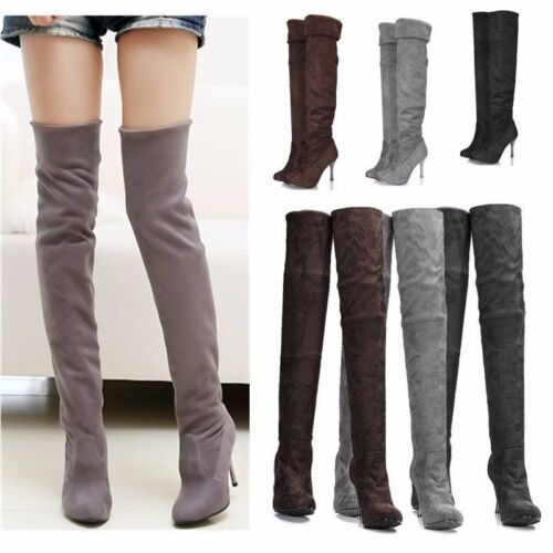 Womens High Heel Ladies Thigh Over The Knee Stretch Suede Stiletto Boots Size