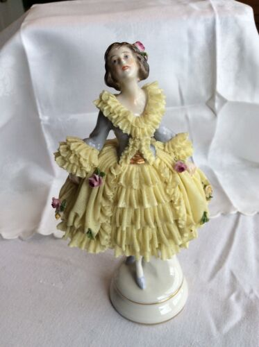 Volkstedt Dresden Porcelain Figurine Yellow Lace and Flower Dress