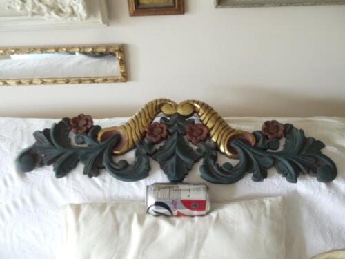 ANTIQUE SHABBY VTG CHIC LARGE HAND CARVED WOOD FLOWERS APPLIQUE MOUNT PEDIMENT