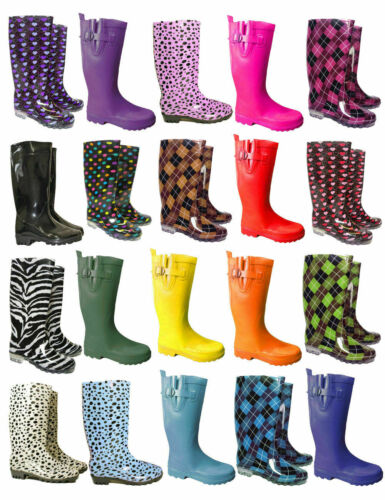 LADIES WOMENS RAIN FESTIVAL WELLIES PLAIN PATTERN WELLINGTON BOOTS SIZE 4 5 6 7