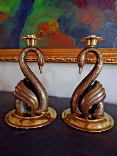 """Antique Pair of  BRASS and BRONZE SWAN CANDLE HOLDERS /  12"""" high x 7 1/4"""" wide"""