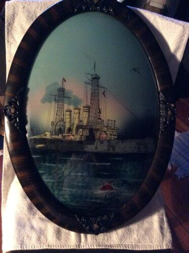 antique reverse glass painting Oval Glass USS Georgia- 16X21 In. V. Good Co.