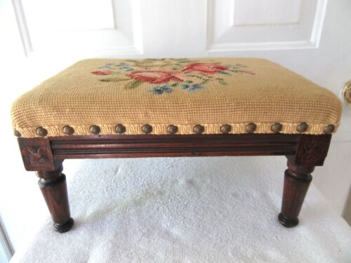 Vintage Petite French Country Louis XVI Carved Walnut Foot Stool Ottoman