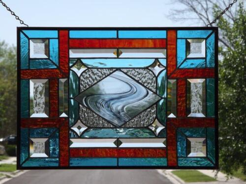 "•Turquoise & Red•Beveled Stained Glass Window Panel • 20 ½""-14 ½"" (52-37cm)"