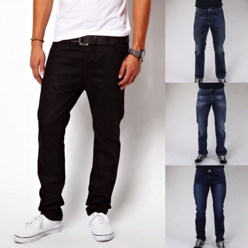 Men's Skinny Slim Fit Jeans Denim Style Straight Fit Trousers Casual Pants