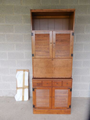 "Ethan Allen CRP 30""W  Louvered Door Liquor Bar Lighted 2 Pc Cabinet  10-4030"