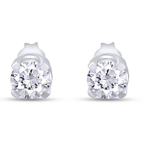 Sterling Silver Round Simulated Diamond Stud Earrings Choose 2-8mm
