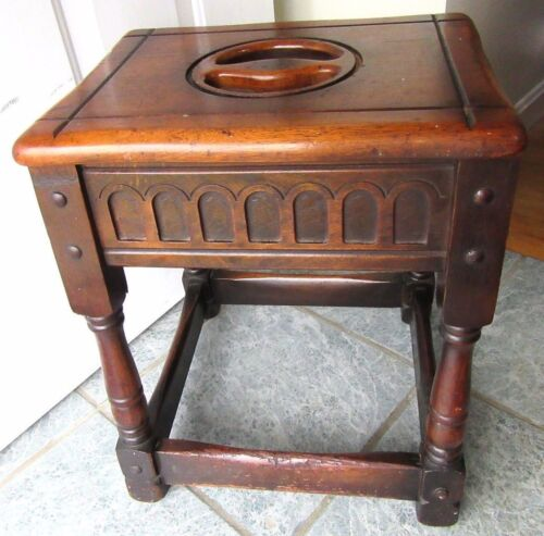 ANTIQUE OAK JOINT STOOL TABLE CARVED JACOBEAN WOOD 1910 COFFIN PRIMITIVE COUNTRY