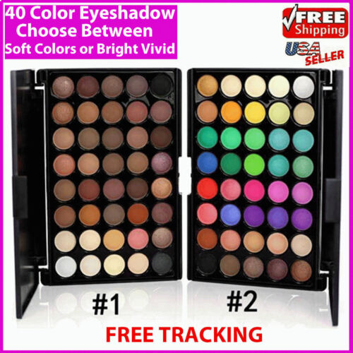 Eyeshadow Palette Makeup 40 Color Cream Eye Shadow Matte Shimmer Set Cosmetic <br/> Free Ship* Choose Between Soft Colors and Bright Colors