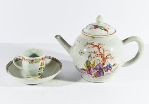 ANTIQUE CHINESE PORCELAIN TEAPOT CUP JIAQING TEA SET QING DYNASTY 19th Century