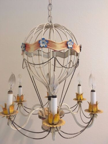 Vintage Italian Hot Air Balloon Chandelier - 6 Light - 22 inches high !!!!!!!