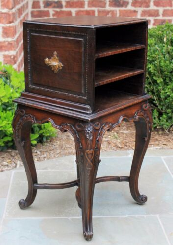 Antique French Rococo Oak Carved PETITE Reading End Table Bookcase Nightstand