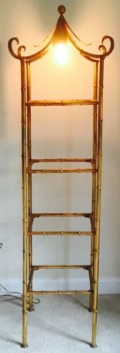 FAUX BAMBOO ETAGERE VINTAGE HOLLYWOOD REGENCY GILT TOLE FLOOR LAMP CURIO STAND
