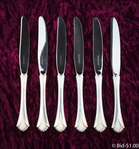 LUNT REGENCY STERLING SILVER SET OF 6 KNIVES - EXCELLENT CONDITION