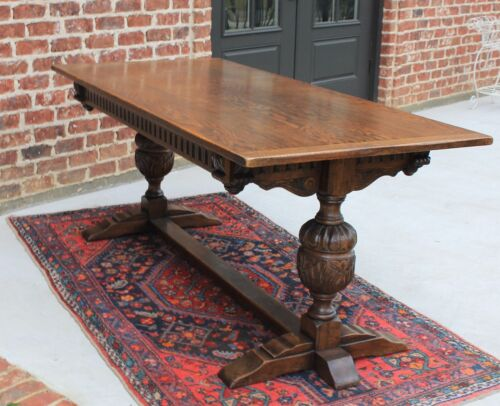 Antique French Country Carved Oak Farmhouse Trestle Farm Dining Library Table