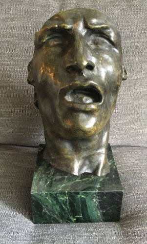 "After Auguste Rodin (French, 1840-1917) ""Mask of Sorrow"" Bronze Bust on Marble"