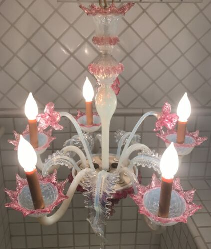 Vintage MURANO Glass art Chandelier Mid century 5 arms 3 flowers 5 leaves
