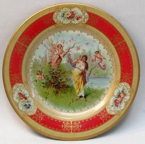 "1905 VICTORIAN SCENE with CHERUBS or CUPIDS Vienna Art Plates 10"" tin tray"