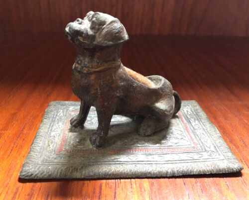 Pug Bull Dog Pen Wipe Bronze  Bergmann? Austria Austrian Cold Painted Buy It Now