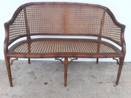 MID CENTURY VINTAGE CHINESE CHIPPENDALE FAUX BAMBOO AND CANE SETTEE BENCH