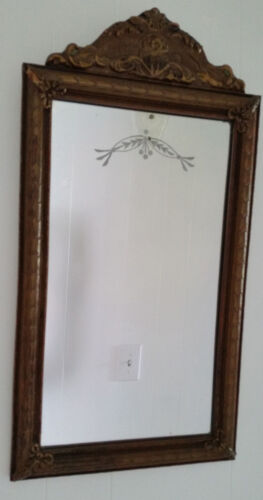 Antique Etched Wall Hall Mirror Gold Brown Gesso Floral Carved Frame