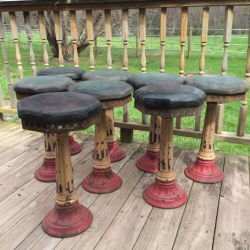 Antique 8 Fountain Ice Cream Parlor Restaurant Bar Counter Stools Cast Iron