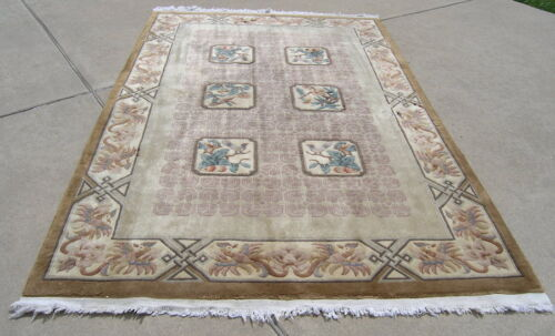Vintage Chinese Hand Woven Oriental Rug Birds Flowers 66x102 inches As Is Washed