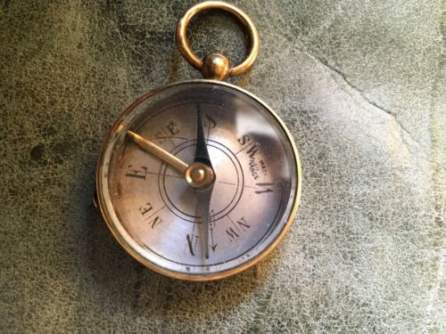 """Antique French Brass Compass Tiny Made in France 1 1/2"""" Diameter"""