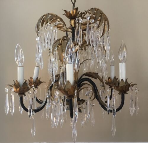 Antique Vintage Art Nouveau Deco Palm Frond Crystal Chandelier Italian Tole