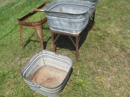 old galvanized Square Wash Tub
