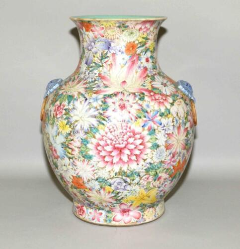 CHINESE QING DY, MILLE-FLEURS VASE EX SEATLE MUSEUM. Chien Lung seal... Lot 1219