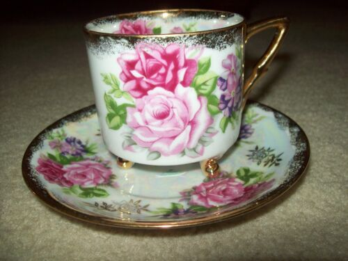 Vintage Royal Halsey L & M Very Fine China 3 foot Tea Cup and Saucer Roses