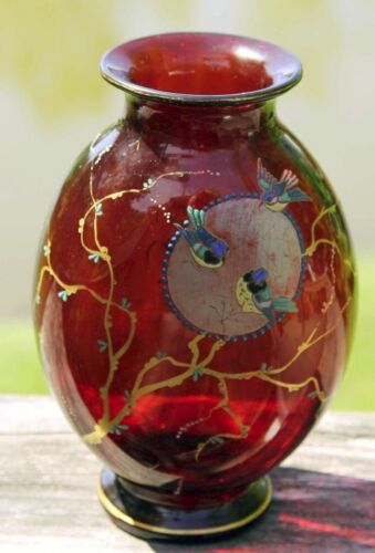 ANTIQUE MARKED MOSER RED GLASS ENAMELED VASE BIRDS MOON BRANCHES