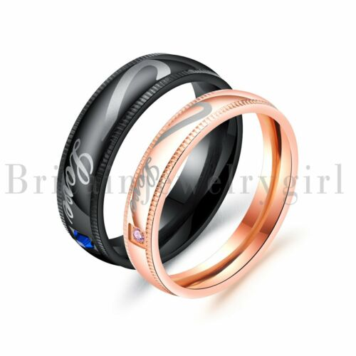 Couple Rings I Love You Matching Heart Brushed Steel Men Women Wedding Band*6MM