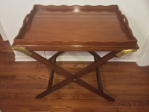Vtg Baker Mahogany Party Butler Table Double Fold Out Top Tray Brass Accents