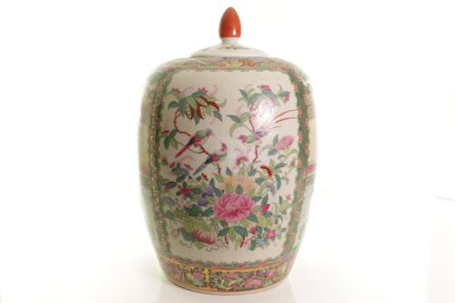 "Beautiful Oriental Famille Rose Medallion Porcelain Jar 14.5"" Tall"
