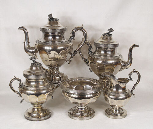 AMERICAN COIN STERLING SILVER TEA & COFFEE 5 PCS SET BY  BALL BLACK & COMPANY