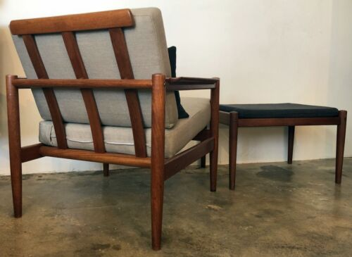 Danish Modern Mid Century Borge Jensen and Sonner Teak Chair and Rare Ottoman