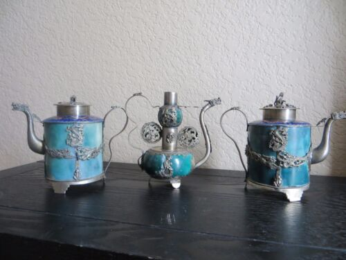 MUSEUM QUALITY Lot of 3 Jade ANTIQUE TIBETAN TEAPOTS Cloisonne Silver plated