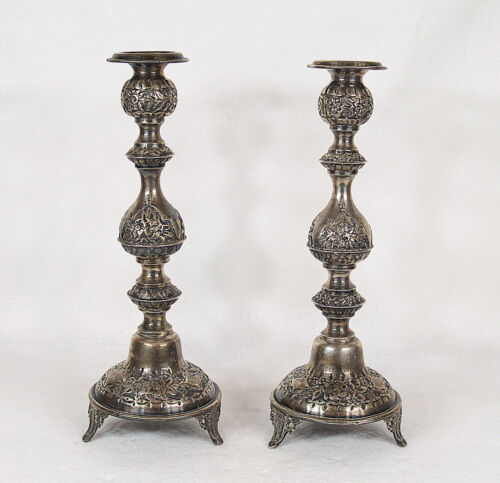 Antique Russian 84 Silver Sabbath Candlesticks