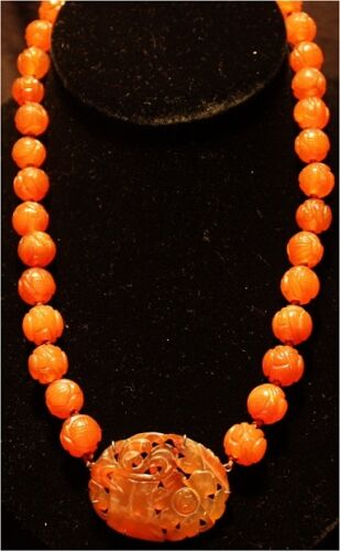 Antique Chinese Shou Carved Carnelian Medallion & Beads Silver Necklace