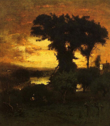 """Afterglow by George Inness, Handmade Oil Painting Reproduction 30"""" x 34"""""""
