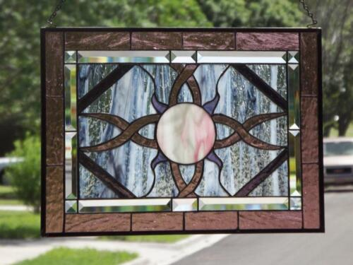 """• COSMIC •Beveled Stained Glass Window Panel • 21 ½"""" X15 ½""""(55x39Cm)"""