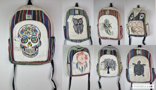 Recycle Hemp Eco-Friendly RuckSack Backpack Bag THC FREE Handmade Fairtrade
