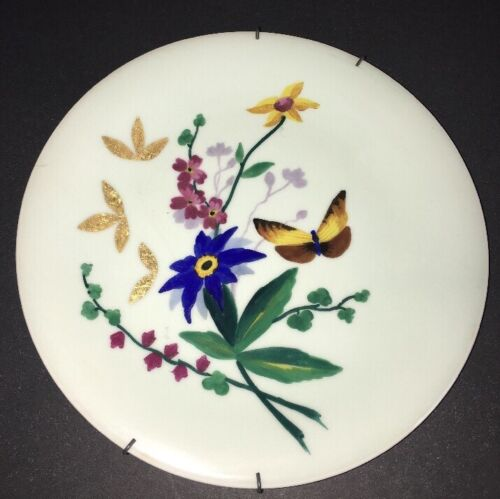 """Old Chinese Plate Gold Gilt Enamel Cloisonne Hand Painted Flowers Butterfly 9"""" D"""
